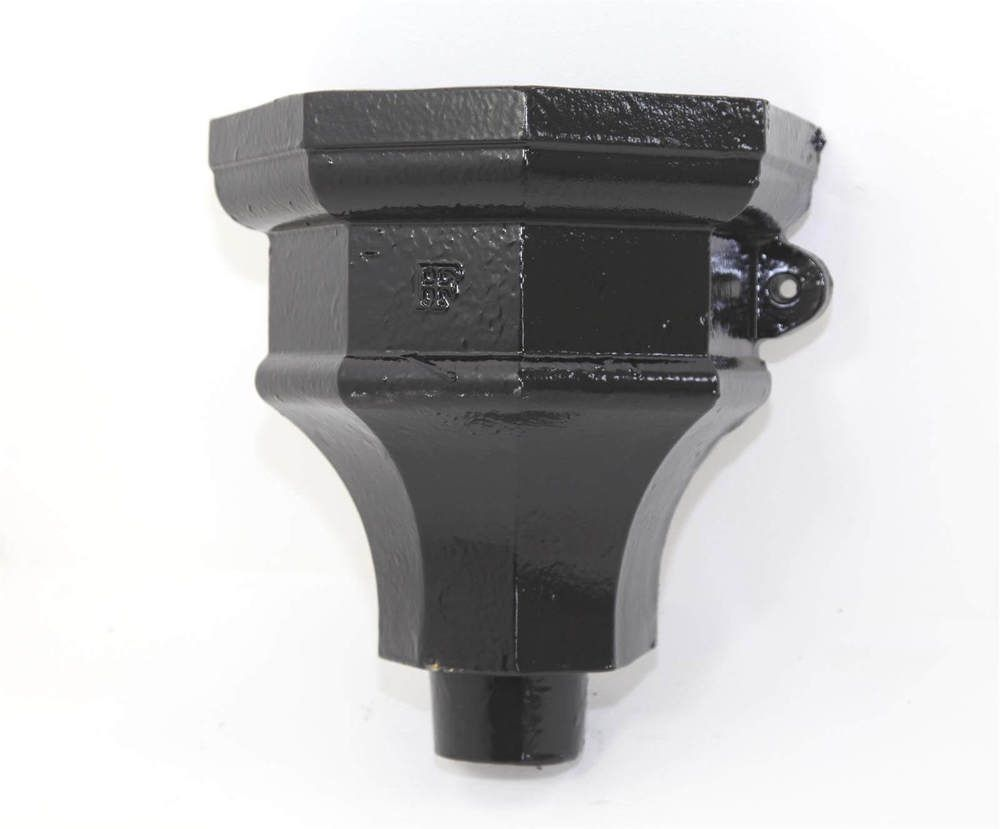 Cast Iron Round Downpipe Hopper Head Fluted Eared Outlet - 65mm Black