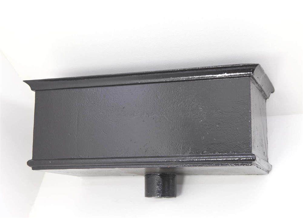 Cast Iron Rectangular Hopper Head Long Outlet - 355mm for 75mm Downpipe Black