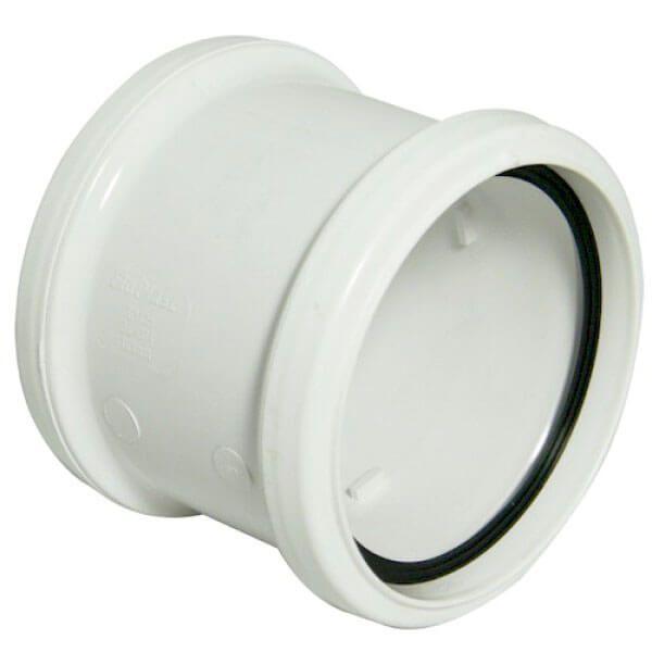 Industrial/ Xtraflo Downpipe Double Socket Coupling - 110mm White