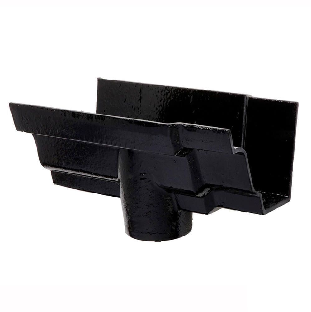 Cast Iron Moulded Ogee Gutter Running Outlet - 100mm for 65mm Downpipe Black
