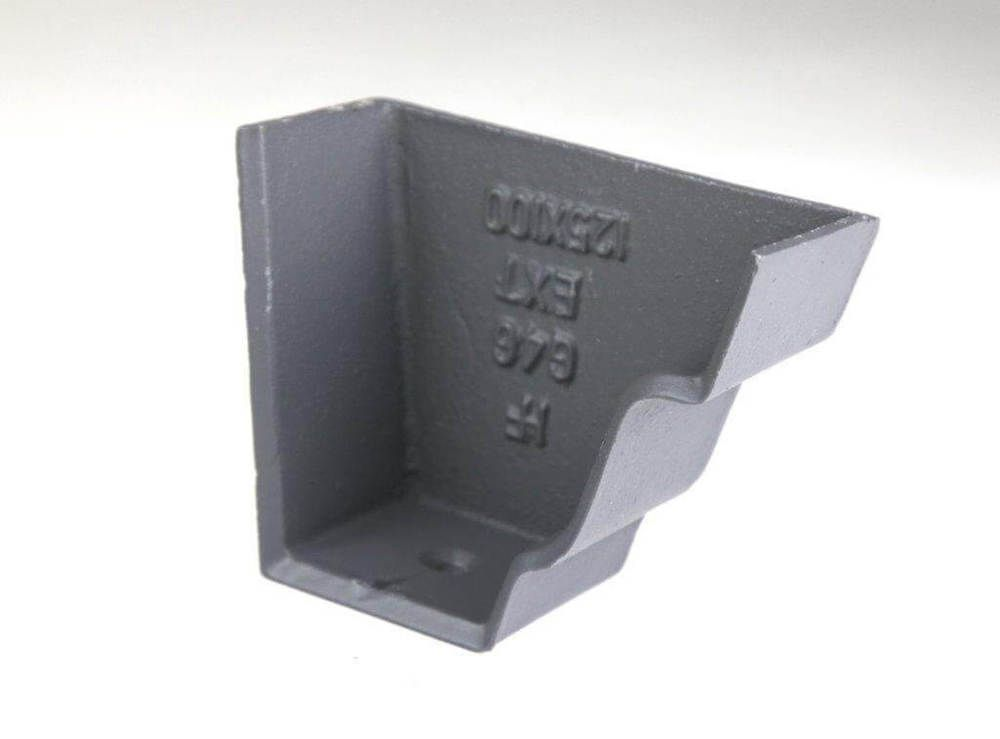 Cast Iron Moulded Ogee Gutter Right Hand Stopend - 125mm Primed