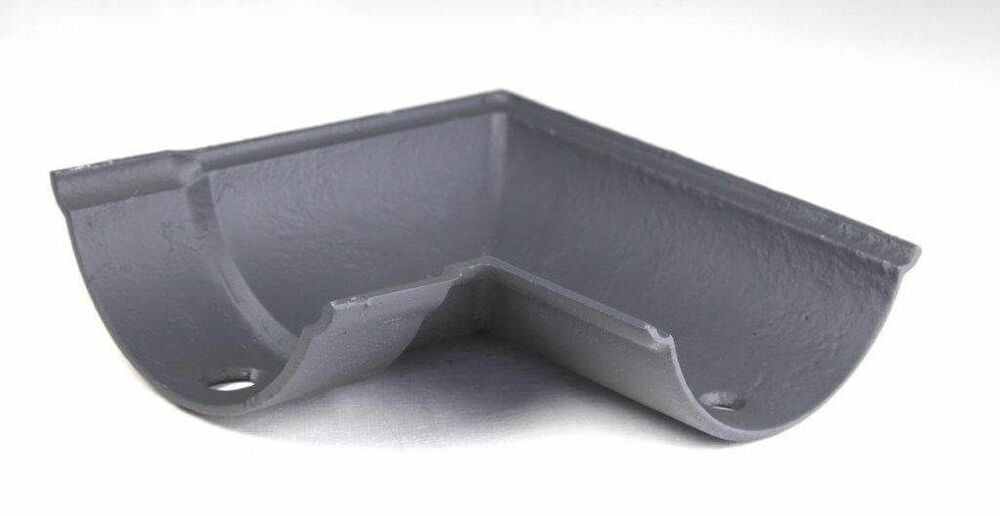 Cast Iron Beaded Half Round Gutter Right Hand Angle - 90 Degree x 125mm Primed