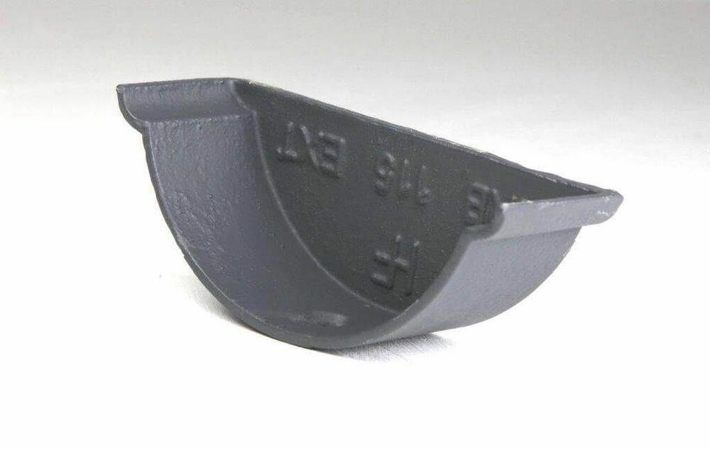 Cast Iron Beaded Half Round Gutter External Stopend - 125mm Primed