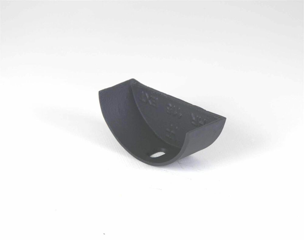 Cast Iron Half Round Gutter External Stopend - 100mm Primed