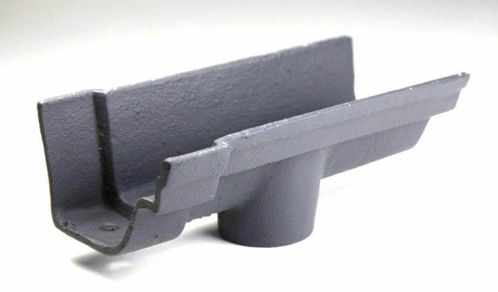 Cast Iron Notts Ogee Gutter Running Outlet - 115mm for 75mm Downpipe Primed