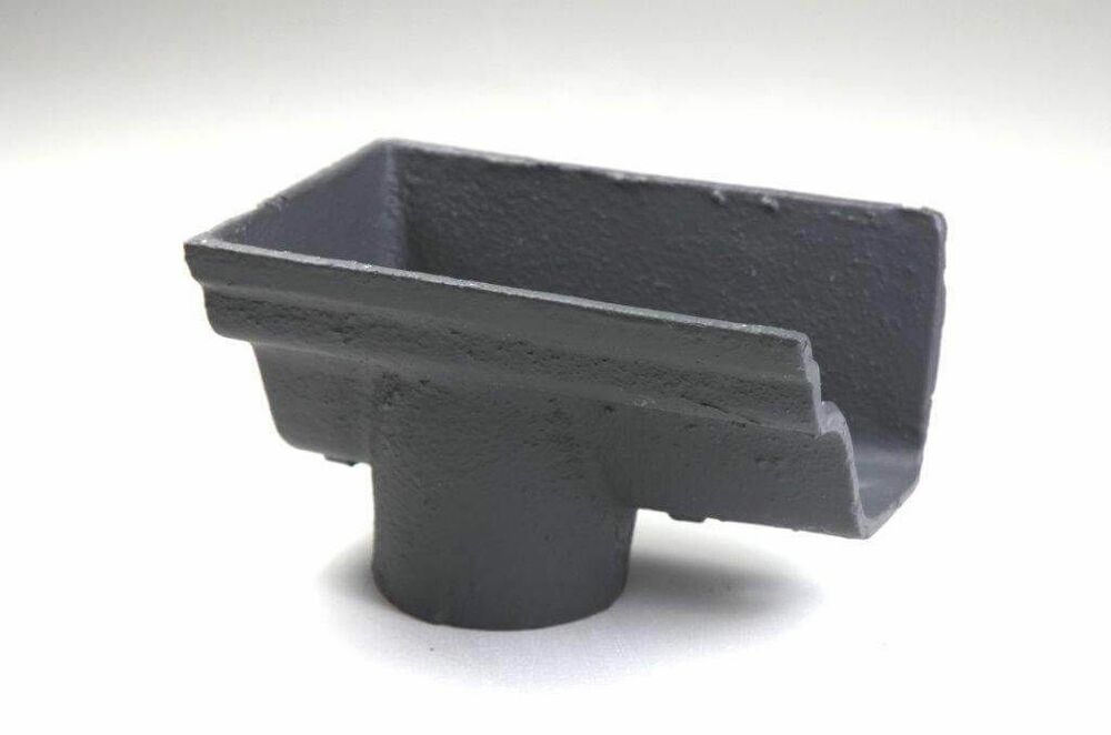 Cast Iron Notts Ogee Gutter Left Hand Stopend Outlet - 115mm for 75mm Downpipe Primed