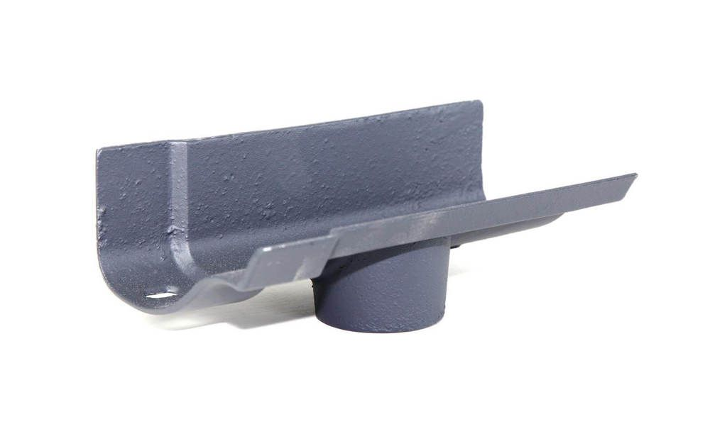 Cast Iron Ogee Gutter Running Outlet - 100mm for 75mm Downpipe Primed