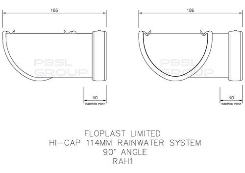Deepflow/ Hi-Cap Gutter Angle - 90 Degree x 115mm x 75mm Grey
