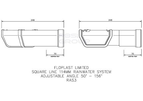 Square Gutter Adjustable Angle - 50 to 156 Degree White