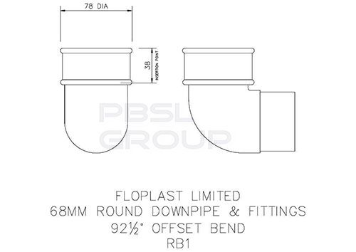 Round Downpipe Bend - 92.5 Degree x 68mm Black - OUT OF STOCK