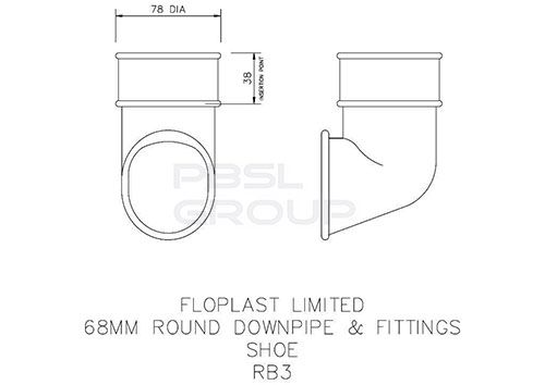 Round Downpipe Shoe - 68mm Black
