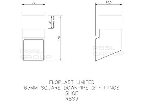 Square Downpipe Shoe - 65mm Black