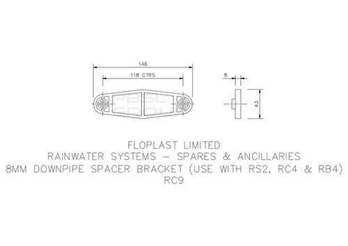 Round Downpipe Spacer Bracket - 8mm White