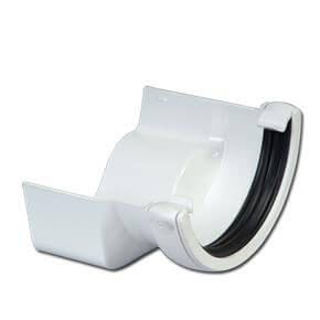 PVC Half Round to Cast Iron Ogee Right Hand Gutter Adaptor - White