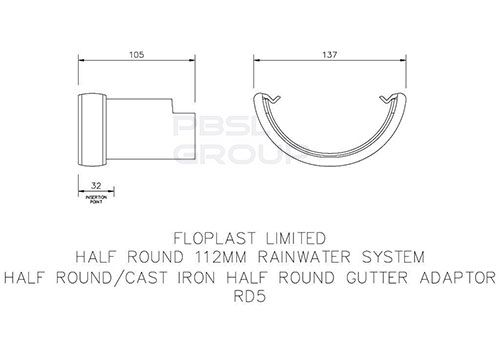 PVC Half Round to Cast Iron Half Round Gutter Adaptor - Brown