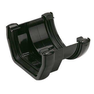 PVC Square to PVC Half Round Gutter Adaptor - Black