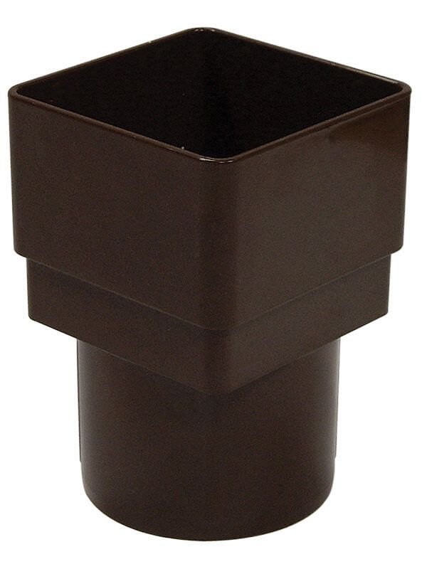 PVC Square to PVC Round Downpipe Adaptor - Brown