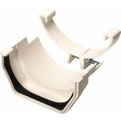 PVC Square to Cast Iron Half Round Gutter Adaptor - White