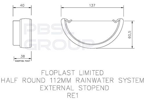 Half Round Gutter External Stopend - 112mm Cast Iron Effect