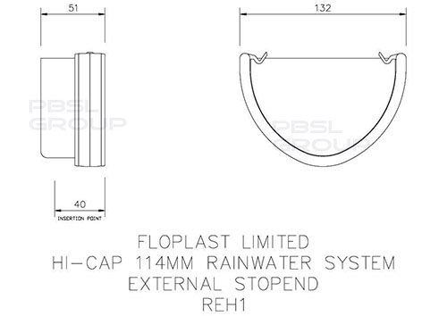 Deepflow/ Hi-Cap Gutter External Stopend - 115mm x 75mm White