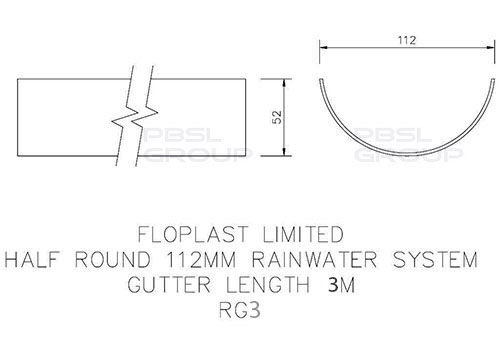 Half Round Gutter - 112mm x 3mtr Black - OUT OF STOCK