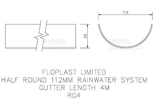 Half Round Gutter - 112mm x 4mtr Cast Iron Effect