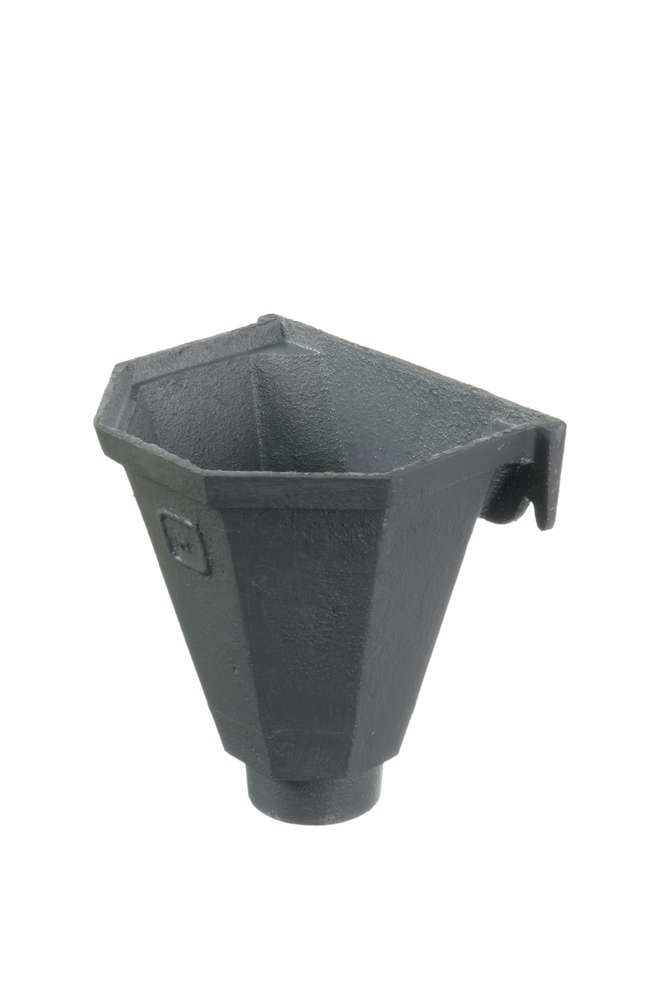Cast Iron Round Downpipe Hopper Head Flat Back Outlet - 65mm Primed