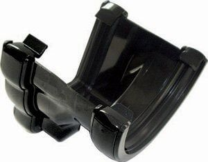 PVC Half Round to PVC Ogee Right Hand Gutter Adaptor - Black