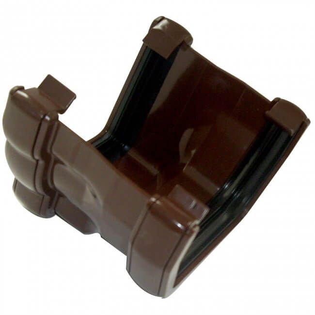 PVC Half Round to PVC Ogee Right Hand Gutter Adaptor - Brown
