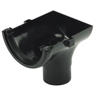 Half Round Gutter Stopend Outlet - 112mm Black