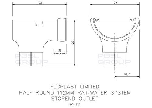 Half Round Gutter Stopend Outlet - 112mm Cast Iron Effect