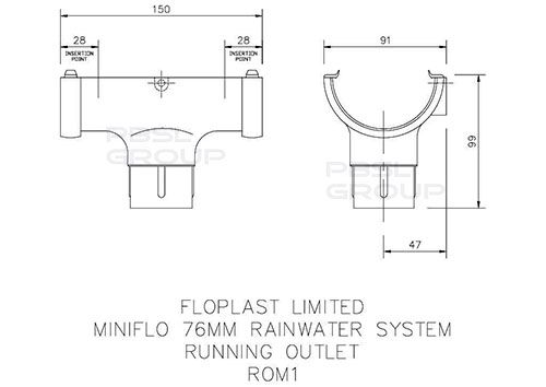 Mini Gutter Running Outlet - 76mm Brown