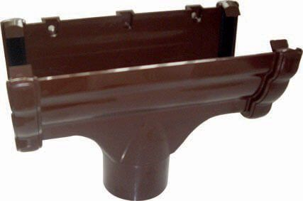 Ogee Gutter Running Outlet - 110mm x 80mm Brown