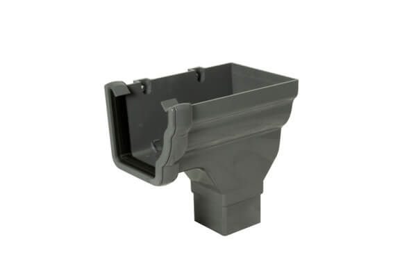 Ogee Gutter Stopend Outlet Right Hand - 110mm x 80mm Anthracite Grey