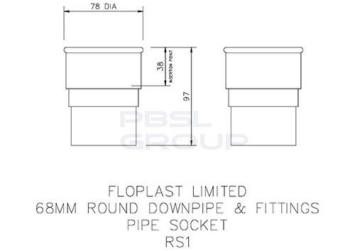 Round Downpipe Socket - 68mm Grey