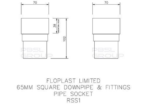 Square Downpipe Socket - 65mm White