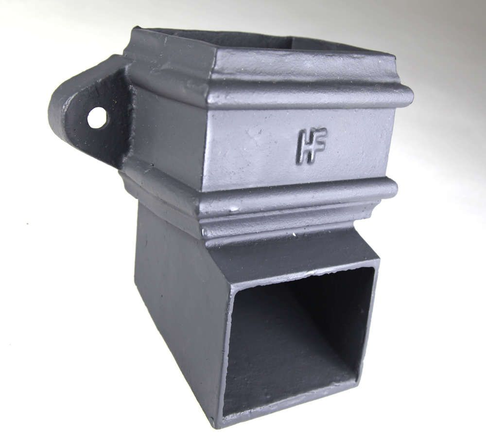 Cast Iron Rectangular Downpipe Eared Shoe - 100mm x 75mm Primed