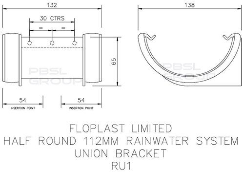 Half Round Gutter Union Bracket - 112mm White