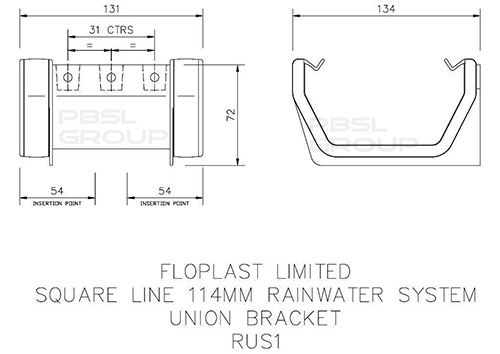 Square Gutter Union Bracket - 114mm Black