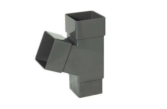 Square Downpipe Branch - 112 Degree Anthracite Grey