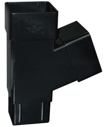 Square Downpipe Branch - 112 Degree Black