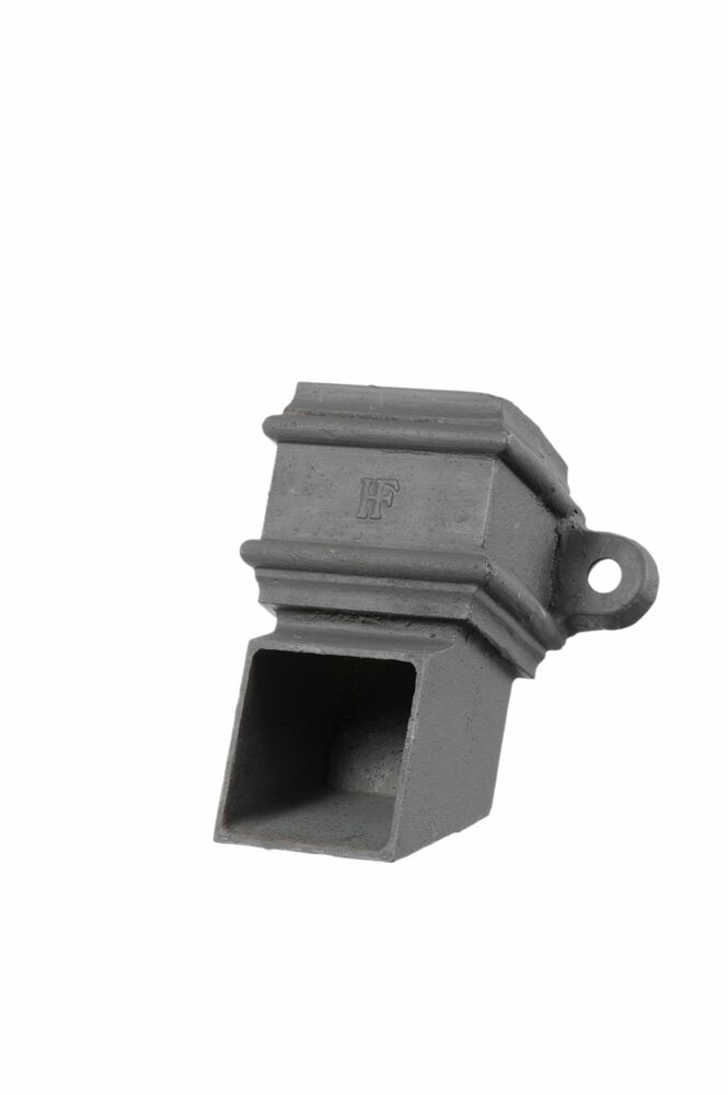 Cast Iron Square Downpipe Eared Shoe - 75mm Primed