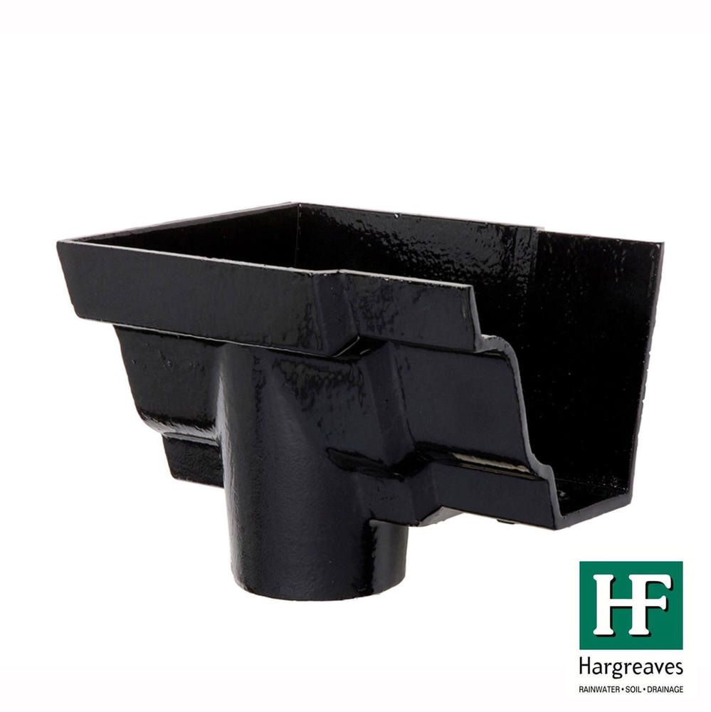 Cast Iron Moulded Ogee Gutter Left Hand Stopend Outlet - 100mm for 65mm Downpipe Black