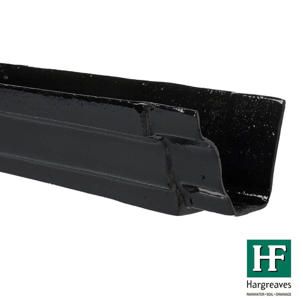 Cast Iron Moulded Ogee Gutter - 125mm x 1829mm Black