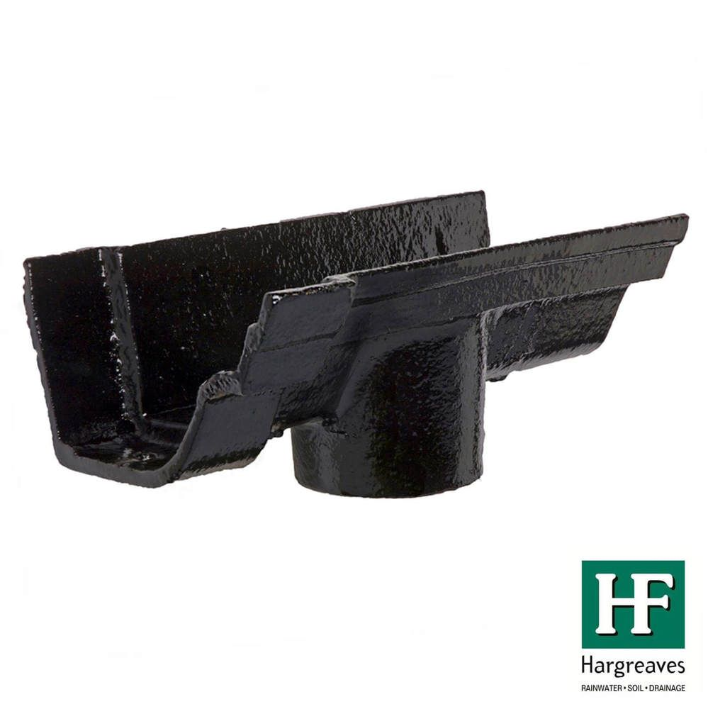Cast Iron Notts Ogee Gutter Running Outlet - 115mm for 75mm Downpipe Black