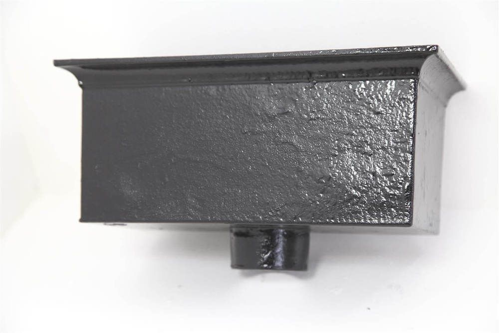 Cast Iron Rectangular Hopper Head Outlet - 457mm for 75mm Downpipe Black