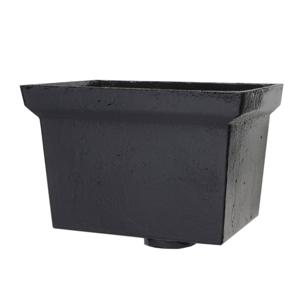 Cast Iron Rectangular Hopper Head Plain Outlet - 305mm for 75mm Downpipe Black