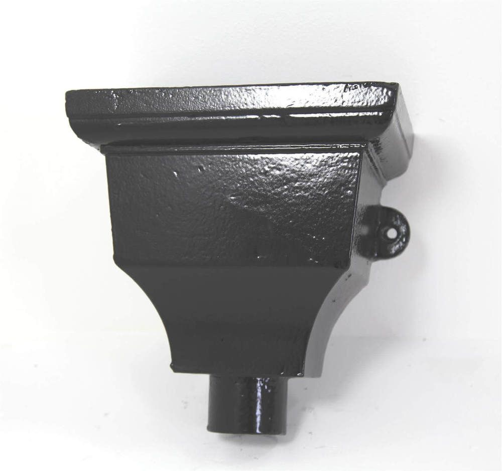 Cast Iron Round Downpipe Hopper Head Traditional Eared Outlet - 75mm Black