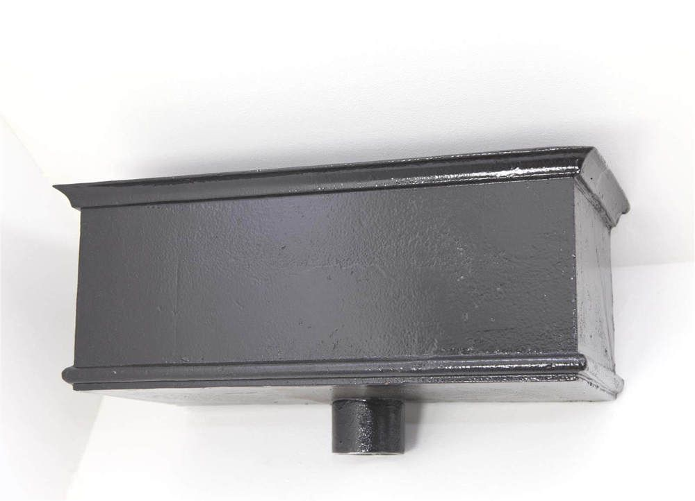 Cast Iron Rectangular Hopper Head Long Outlet - 355mm for 75mm Downpipe Black