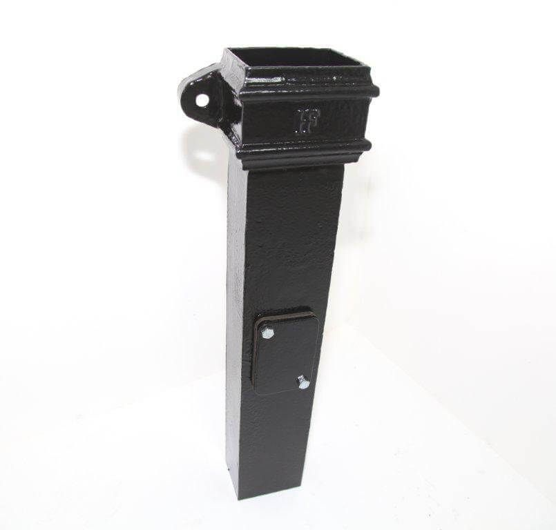 Cast Iron Rectangular Downpipe Eared Access Pipe - 100mm x 75mm Black